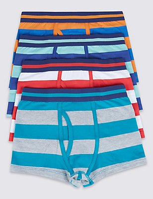 4 Pack Rugby Striped Trunks (2-16 Years), ORANGE MIX, catlanding