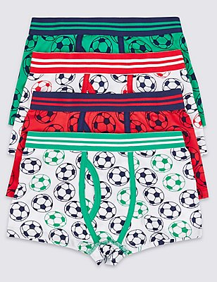 4 Pack Cotton Rich Trunks (2-16 Years), WHITE/RED, catlanding
