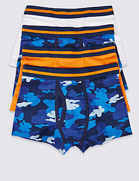 4 Pack Camouflage Trunks (2-16 Years), BLUE MIX, catlanding
