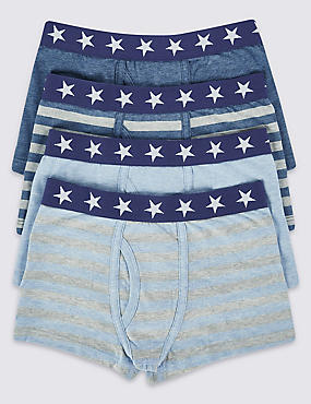 4 Pack Cotton Star Waist Band Trunks with Stretch (2-16 Years), BLUE/GREY, catlanding