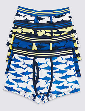 4 Pack Cotton Trunks with Stretch (2-16 Years), BRIGHT BLUE MIX, catlanding