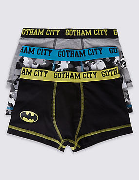 3 Pack Batman™ Cotton Trunks with Stretch (2-16 Years), BLACK/GREY, catlanding