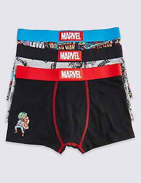 3 Pack Marvel Cotton Trunks with Stretch (2-16 Years), BLACK/RED, catlanding