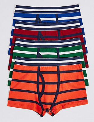 4 Pack Striped Cotton Trunks with Stretch (2-16 Years), ORANGE MIX, catlanding