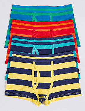 4 Pack Striped Cotton Trunks with Stretch (2-16 Years), YELLOW MIX, catlanding