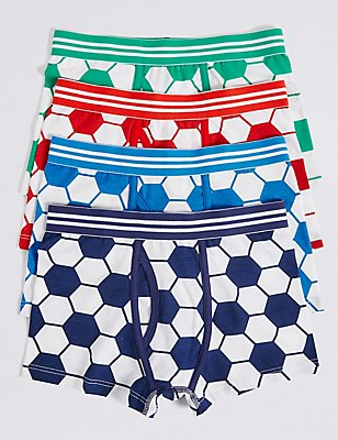4 Pack Cotton Trunks with Stretch (2-16 Years), WHITE/RED, catlanding