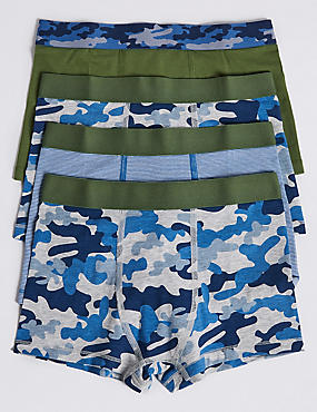 Cotton Trunks with Stretch (18 Months - 16 Years), GREEN MIX, catlanding