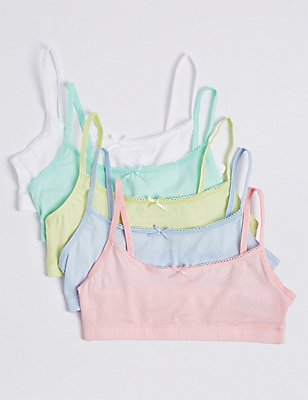 5 Pack Cotton Rich Assorted Crop Tops (6-16 Years), PASTEL, catlanding