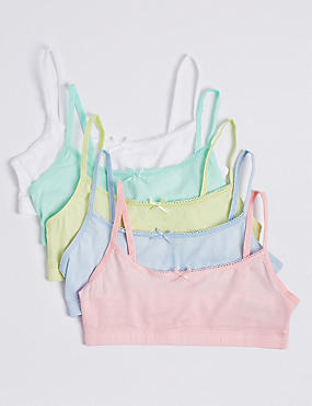 5 Pack Cotton Crop Tops with Stretch (6-16 Years), PASTEL, catlanding
