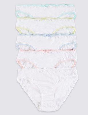 Pure Cotton Scallop Trim Bikini Knickers (6-16 Years), WHITE, catlanding