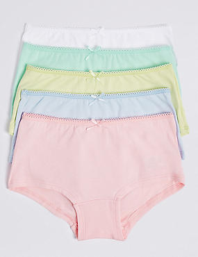 5 Pack Cotton Rich Assorted Shorts (6-16 Years), PASTEL, catlanding
