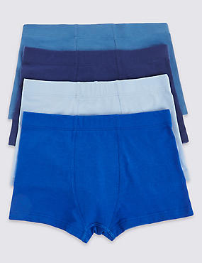 4 Pack Cotton Rich Assorted Trunks (18 Months - 16 Years), NAVY MIX, catlanding
