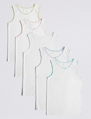 5 Pack Pure Cotton Contrast Trim Vests (1-16 Years), WHITE MIX, catlanding