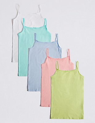 5 Pack Cotton Rich Assorted Camisole Vests (18 Months - 16 Years), PASTEL, catlanding