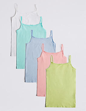 5 Pack Cotton Camisole Vests with Stretch (18 Months - 16 Years), PASTEL, catlanding