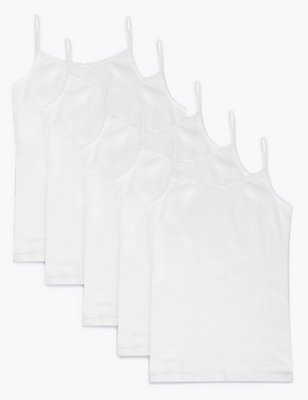 5 Pack Pure Cotton Camisole Vest (3-16 Years), WHITE, catlanding