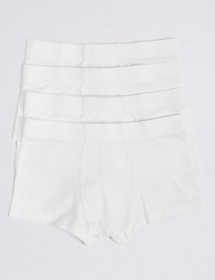 4 Pack Cotton Rich Trunks (18 Months - 16 Years), WHITE, catlanding