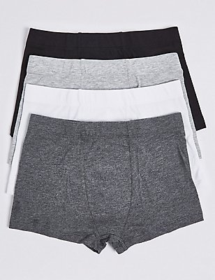 4 Pack Cotton Trunks with Stretch (18 Months - 16 Years), BLACK/GREY, catlanding
