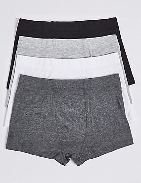 4 Pack Cotton Rich Assorted Trunks (18 Months - 16 Years), BLACK/GREY, catlanding