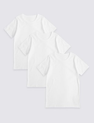 3 Pack Pure Cotton Short Sleeve Vests (18 Months - 16 Years), WHITE, catlanding