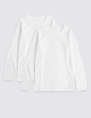 2 Pack Pure Cotton Long Sleeve Vests (18 Months - 16 Years), WHITE, catlanding