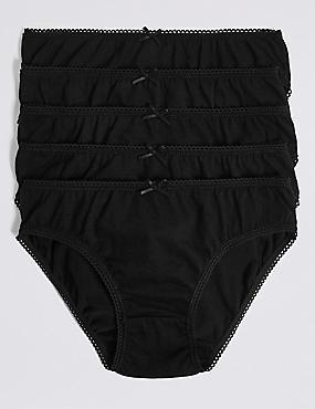 Pure Cotton Bikini Knickers (6-16 Years), BLACK, catlanding
