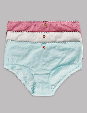 3 Pack Cotton Rich Embroidered Shorts (6-16 Years), PINK/WHITE, catlanding