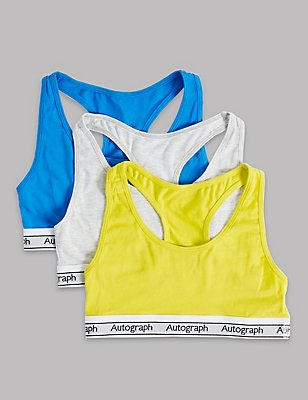 3 Pack Cotton Crop Top with Stretch (9-16 Years), BLUE MIX, catlanding