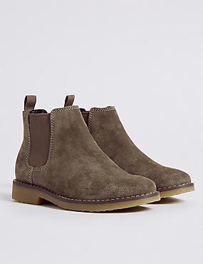Kids' Suede Chelsea Boots, STONE, catlanding