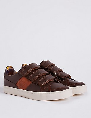 Kids' Riptape Fashion Trainers, DARK BROWN, catlanding