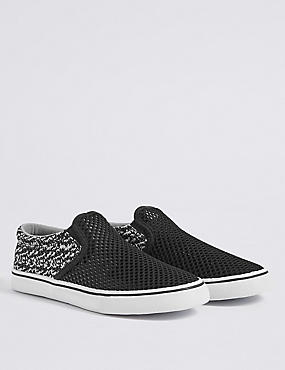 Kids' Slip-on Trainers, BLACK, catlanding