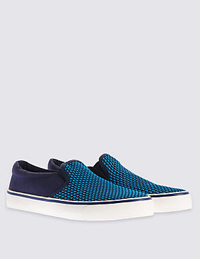 Kids' Slip-on Trainers, BLUE, catlanding