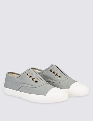 Kids' Canvas Slip-on Trainers, GREY, catlanding