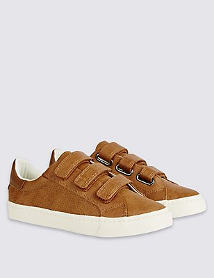 Kids' Triple Riptape Fashion Trainers, TAN, catlanding