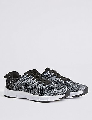 Kids' Knitted Sports Trainers, BLACK MIX, catlanding