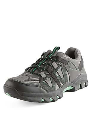 Kids' Freshfeet™ Lace-up Trekker Trainers with Silver Technology, BLACK MIX, catlanding