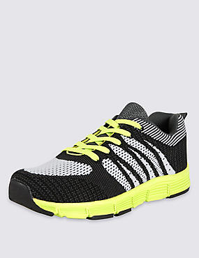 Kids' Knitted Sports Trainers, BLACK/WHITE, catlanding