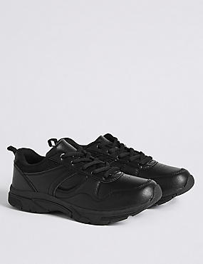 Kid's Lace-up Trainers, BLACK, catlanding