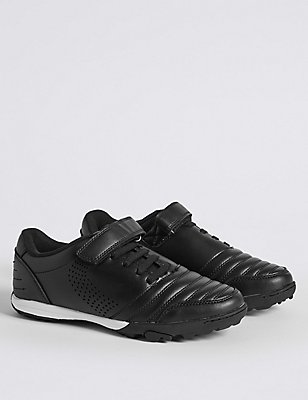 Kids' Freshfeet™ Astro & Riptape Trainers with Silver Technology, BLACK MIX, catlanding