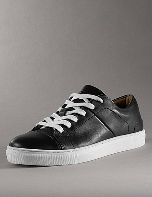 Kids' Leather Lace Up Trainers, BLACK, catlanding