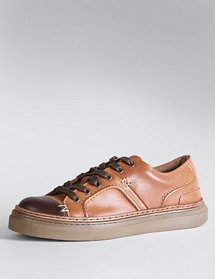 Kids' Leather Lace Up Casual Trainers, BROWN, catlanding
