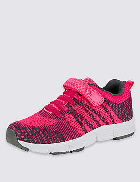 Kids' Knitted Trainers, CORAL MIX, catlanding