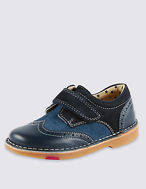 Kids' Walkmates Leather Brogue Shoes, NAVY, catlanding