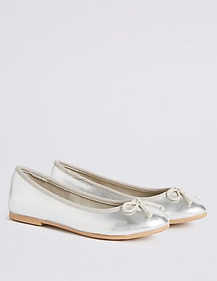 Kids' Pull-on Ballet Shoes, SILVER, catlanding