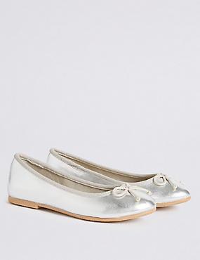 Kids' Pull-on Ballet Shoes, SILVER, catlanding
