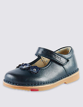 Kids' Walkmates Leather Floral Appliqué Cross Bar Shoes, NAVY, catlanding