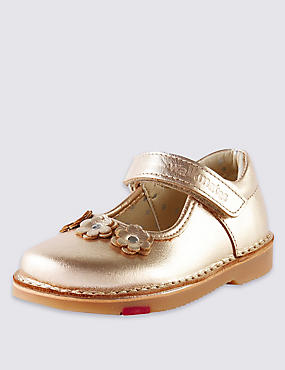 Kids' Walkmates Leather Floral Appliqué Cross Bar Shoes, GOLD, catlanding