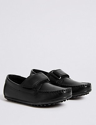 Kids' Freshfeet™ Leather loafers with Silver Technology, BLACK, catlanding