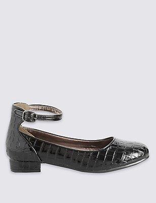 Kids' Block Heel Ballerina Shoes, BLACK, catlanding