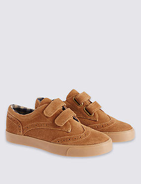 Kids Suede Brogue Shoes with Water Repellent Finish, TAN, catlanding